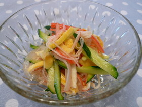 子供が喜ぶ 麺つゆ簡単春雨サラダ