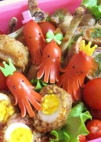 赤ウインナーでタコの飾り切り(キャラ弁)