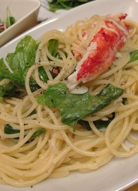 蟹とレタスのペペロンチーノ