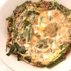 ひき肉とニラの卵とじ