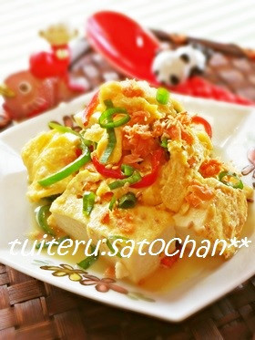 *鮭フレークと卵の炒り豆腐*