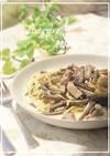 ワラビと豚肉のクリームパスタ