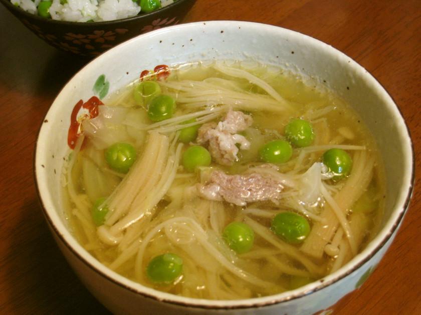 豚肉とグリーンピースの具だくさんスープ