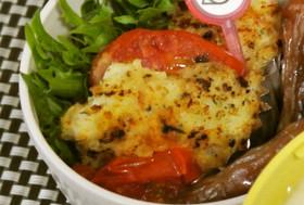 トマトとオブでヘルシータラのパン粉焼き