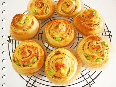 枝豆とベーコンとチーズのくるくるパン