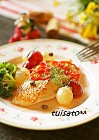 白身魚のガーリック☆コロコロ葡萄ソース♪