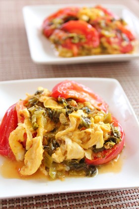 高菜漬けと卵とトマトの炒めもの