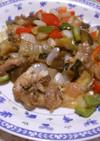 イワシとカラフル野菜のピリ辛炒め