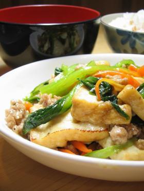 厚揚げと小松菜の炒め煮