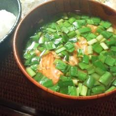 にらのキムチ味噌汁
