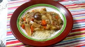 素麺アレンジ~揚げ素麺であんかけ焼きそば