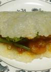 エビチリと空芯菜の中華風タコス