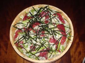 マグロとせりのお祝い寿司