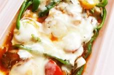 ルクエで♡ささみと茸のトマトチーズ蒸し♬