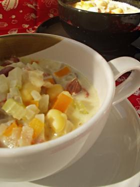 アサリとお豆のスープ