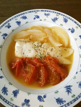 カラスカレイとトマトの洋風煮付け