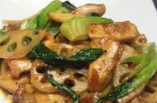 レンコンと鶏とチンゲン菜の中華風ピリ辛炒め
