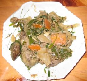 焼き肉のタレで簡単!ニラレバ炒め。