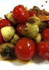 マッシュルームとトマトのガーリック炒め