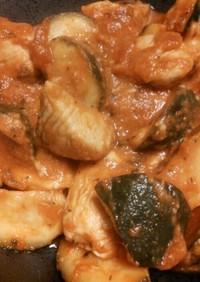 簡単☆チキンとズッキーニのトマト煮込み