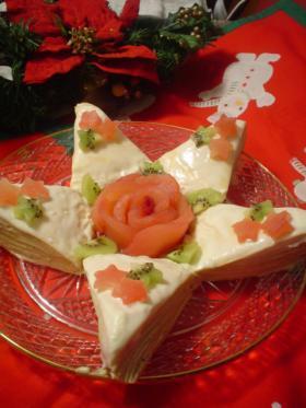 ☆星のクリスマスチーズクリームミルクレープ☆
