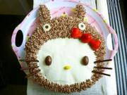 *トトロをかぶったキティちゃんケーキ*の写真