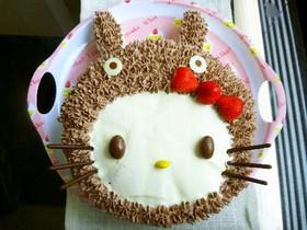 *トトロをかぶったキティちゃんケーキ*
