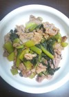 野沢菜漬けと豚肉の梅ダレ焼き