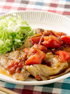 トマトの酸味が美味しい!豚肉の生姜焼き