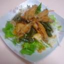 鶏手羽先のケチャップ味と和風サラダ