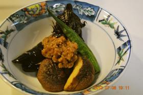 簡単♪ 茄子・椎茸・オクラの肉みそ添え