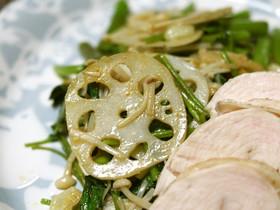蓮根と空芯菜の炒め物カレー風味
