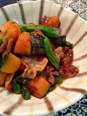 豚肉と南瓜とししとうの甘辛炒めの写真