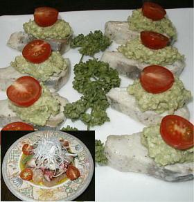 お魚で作るオードブル2品(魚のオイル蒸しアボガドディップ乗せ・魚とタコのカルパッチョ タルタル仕立て)