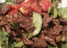 牛肉とトマトとキュウリの生姜豆板醤炒め