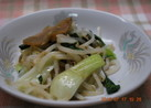 もやしと青梗菜と搾菜の炒め物