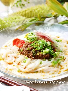 ピリ辛豆乳ごまだれで作る、冷やし坦々麺