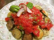 トマト&ズッキーニの冷製パスタの写真
