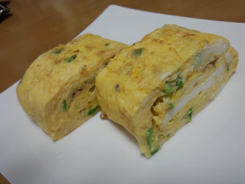 ニンニクオクラチーズの厚焼き卵焼