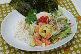 野菜たっぷり☆サラダサーモン丼