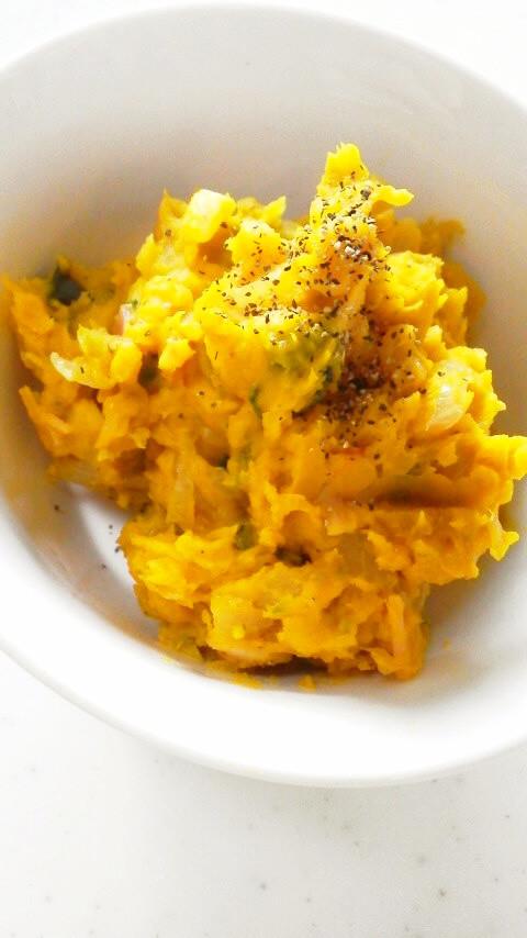 簡単☆ベーコンと玉葱のかぼちゃサラダ