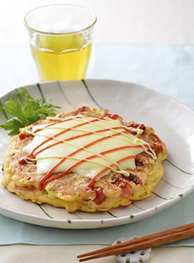 チーズとろけるトマトお好み焼き