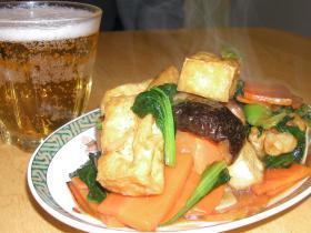 ターサイと揚げ豆腐&揚げ餅のオイスターソース炒め