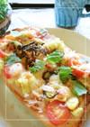 ゴーヤの種とトマトの梅風味和トースト