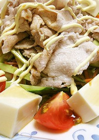 ポン酢で食べる(´∀`)冷しゃぶサラダ