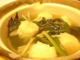 にらと海老シューマイのスープ