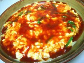 ふわふわ~っ!豆腐の卵とじ酢豚ソースかけ