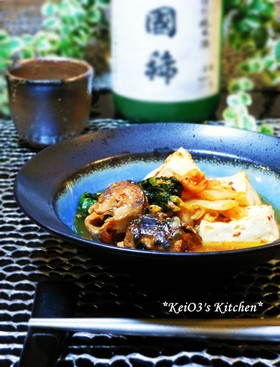 さんま缶と豆腐のキムチ煮