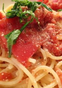 トマトチーズの冷製パスタ