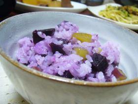 ☆紫と黄色のさつまいもご飯☆